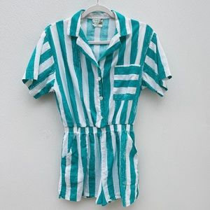 Como for Urban Outfitters romper teal striped blue